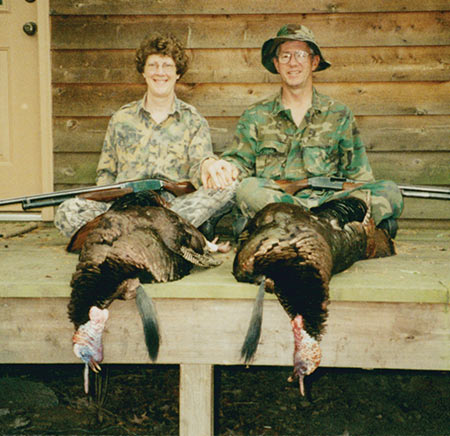 Brenda and I with our Winchester Model 12s and two nice toms.