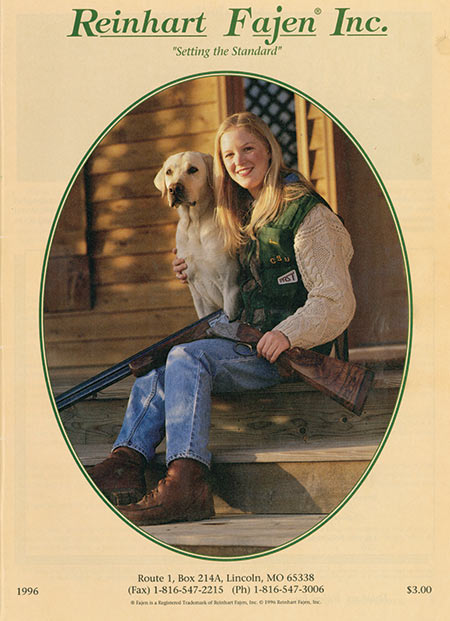 The 1996 Fajen Catalog Cover  featured a picture of our  daughter, Sara.