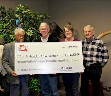 (Left to Right) MYSSA President Willis Corbett, MidwayUSA Foundation Co Founders Larry and Brenda Potterfield, and MYSSA Board Member Lou Rupp