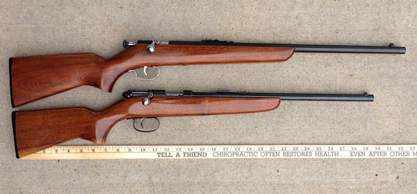 The top rifle is Russell's; it's a Winchester Model 67, Sara's below is a Remington 514