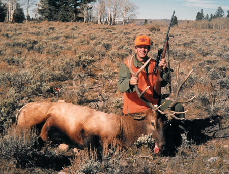 Larry Potterfield, Founder and CEO of MidwayUSA, with his first elk
