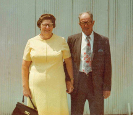 Larry's mom and dad dressed for church, about 1972
