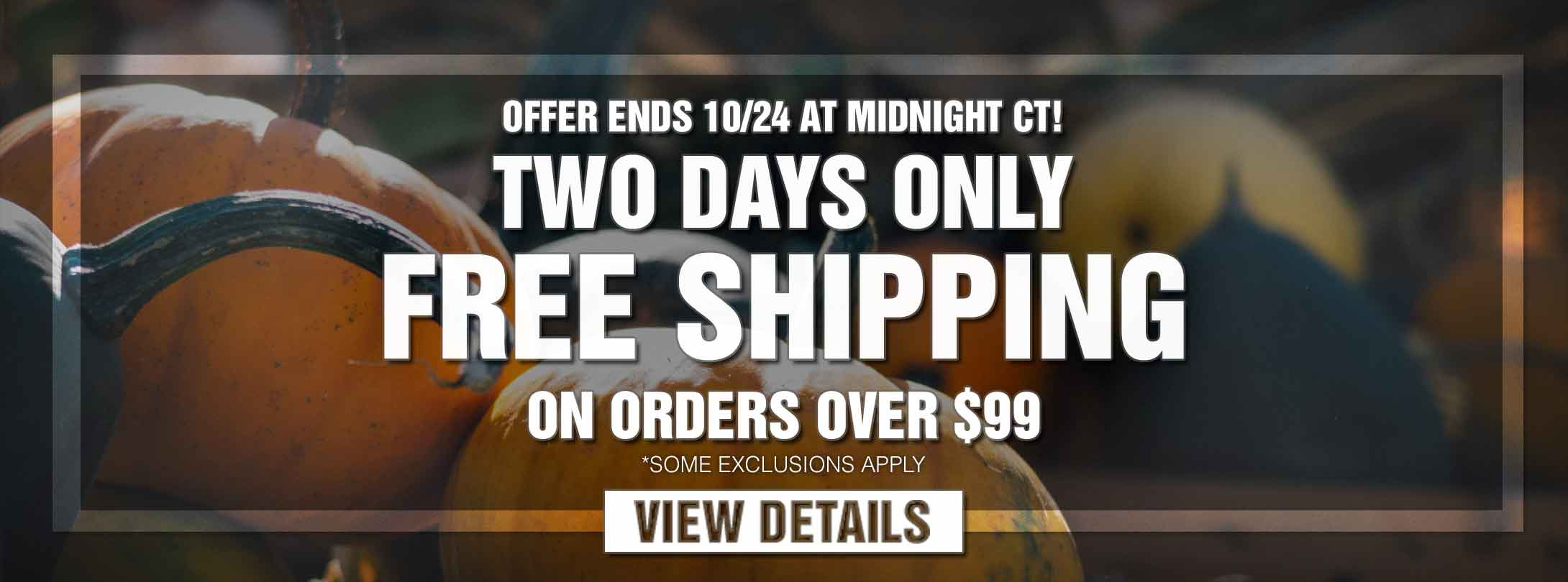 Two Days Only! Free Shipping on Orders Over $99
