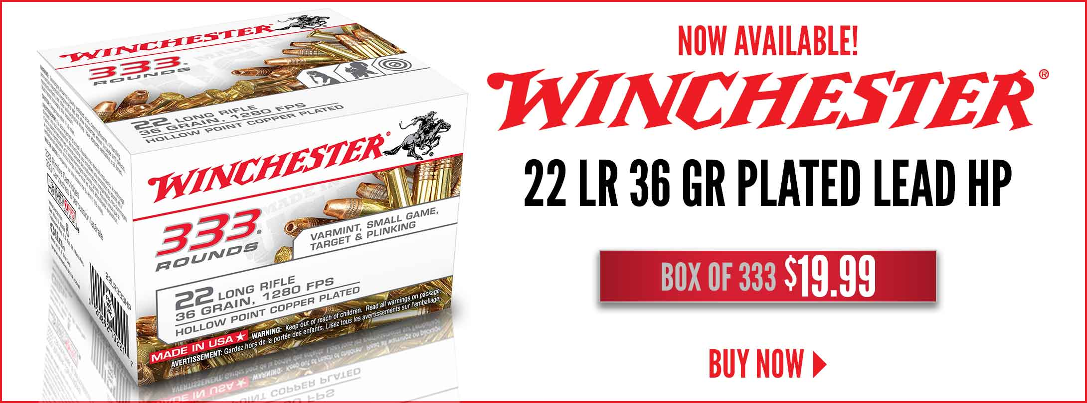 Winchester 333 Box of 22 LR Now Available!