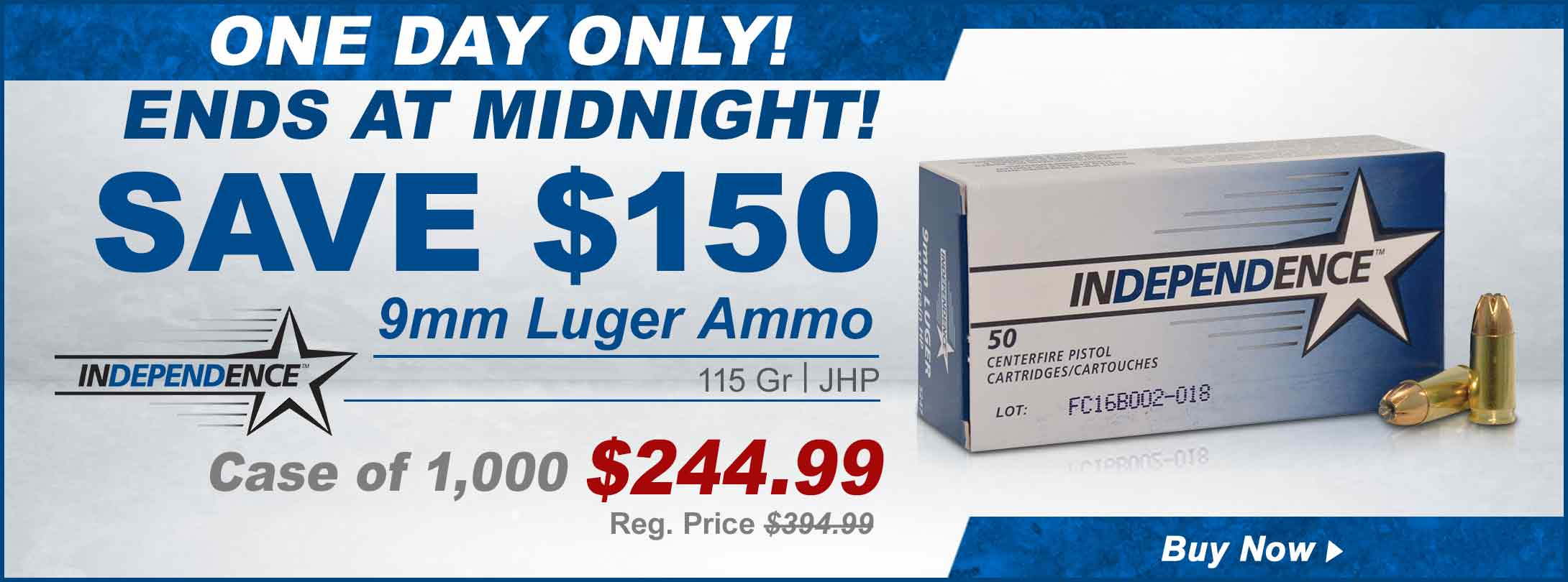 One Day Sale! Independence 9mm Ammo