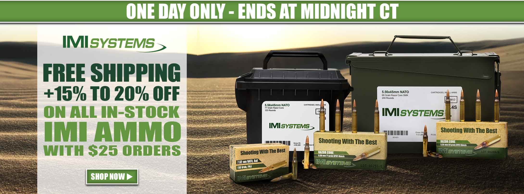 1 Day Only! 15% to 20% Off + Free Shipping on All In-Stock IMI Ammo with $25 Order