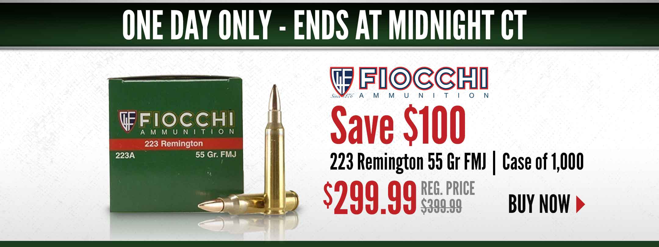Save $100 on Fiocchi 223 Rem Ammo Case of 1,000