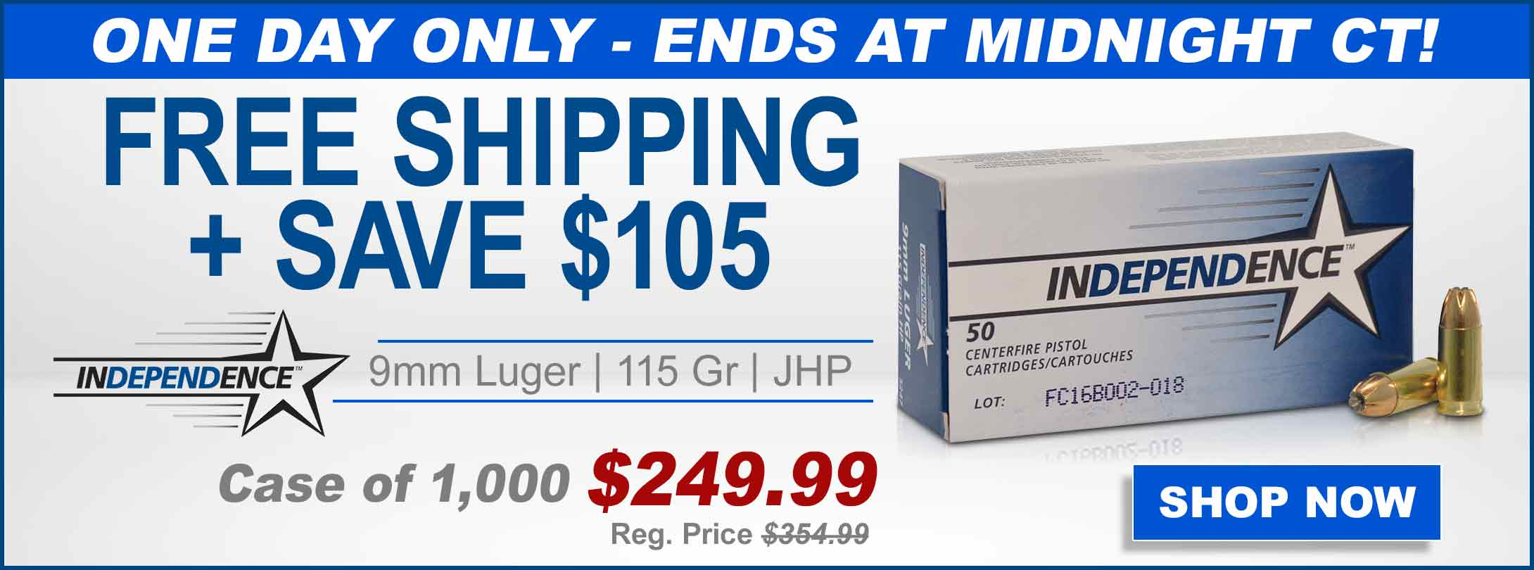 Free Shipping + Save $105 Independence 9mm Ammo | Case of 1,000