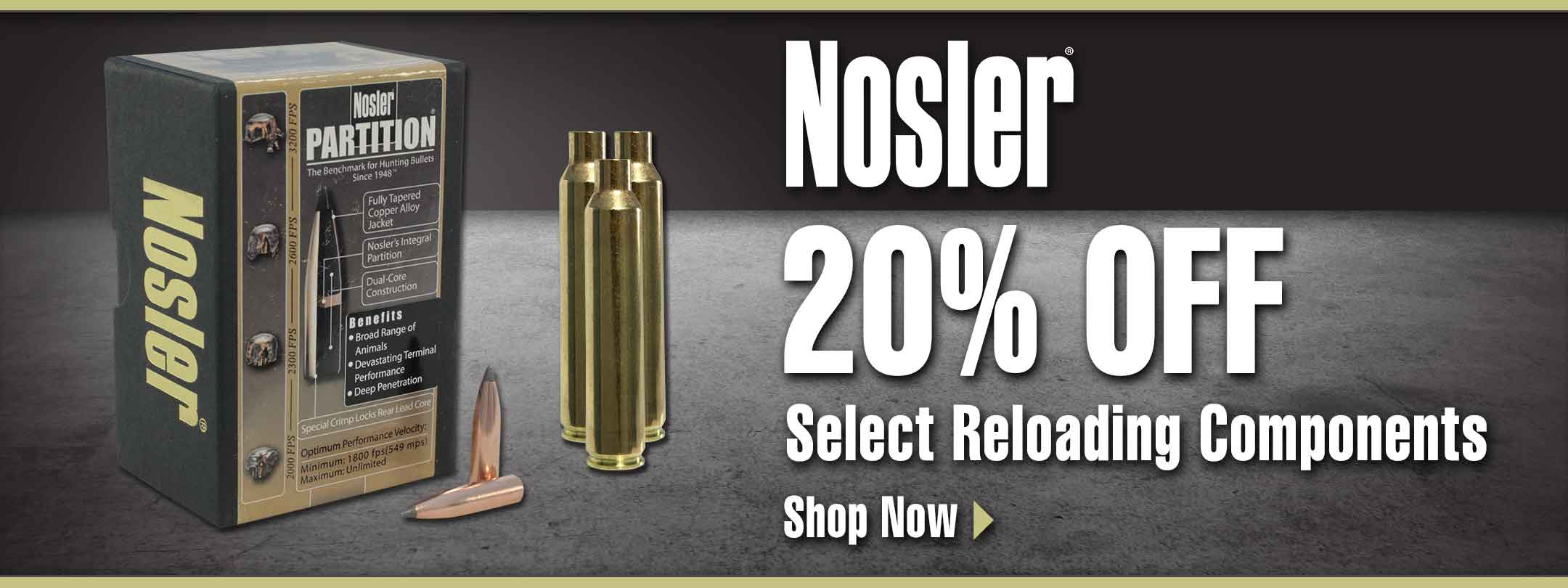 20% Off Select Nosler Reloading Components