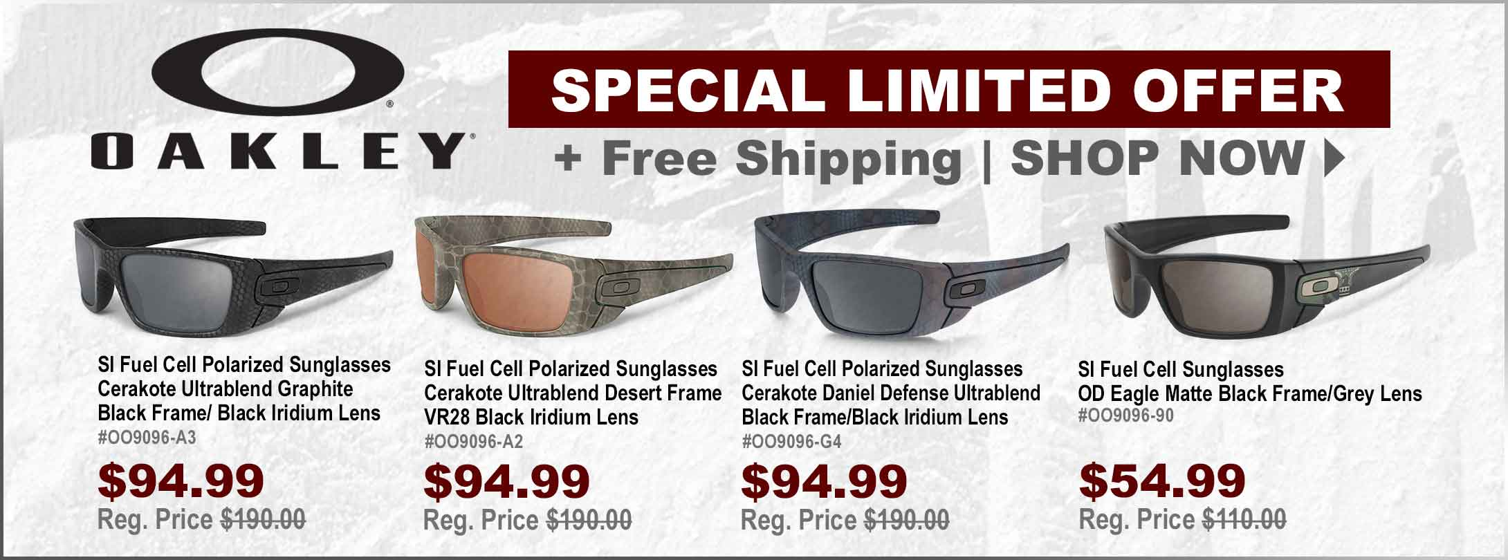 Special Limited Offer - 50% Off Select Oakley Fuel Cell Sunglasses