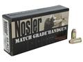 Nosler Match Grade Ammunition 45 ACP 185 Grain Jacketed Hollow Point