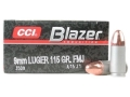 CCI Blazer Ammunition 9mm Luger 115 Grain Full Metal Jacket