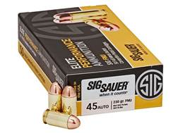 Sig Sauer Elite Performance Ammunition 45 ACP 230 Grain Full Metal Jacket Box of 50