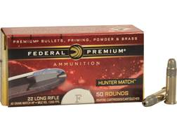 Federal Premium Hunter Match Ammunition 22 Long Rifle High Velocity 40 Grain Lead Hollow Point