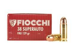 Fiocchi Shooting Dynamics Ammunition 38 Super 129 Grain Full Metal Jacket Box of 50