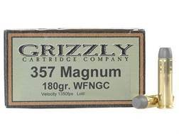 Grizzly Ammunition 357 Magnum 180 Grain Cast Performance Lead Wide Flat Nose Gas Check Box of 20