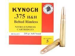 Kynoch Ammunition 375 H&H Magnum 235 Grain Woodleigh Weldcore Soft Point Box of 5