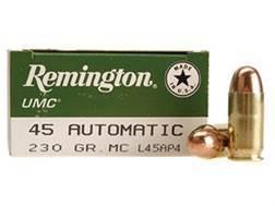 Remington UMC Ammunition 45 ACP 230 Grain Full Metal Jacket