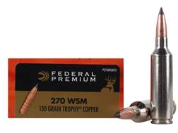 Federal Premium Vital-Shok Ammunition 270 Winchester Short Magnum (WSM) 130 Grain Trophy Copper T...
