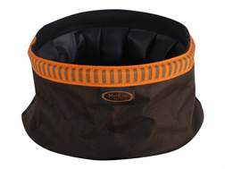 Mud River Quick Quack Collapsible Dog Food and Water Bowl Nylon Green and Orange