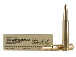 Weatherby Ammunition 340 Weatherby Magnum 250 Grain Nosler Partition Box of 20
