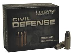 Liberty Civil Defense Ammunition 9mm Luger +P 50 Grain Fragmenting Hollow Point Lead-Free Box of 20