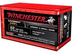 Winchester Varmint High Velocity Ammunition 22 Winchester Magnum Rimfire (WMR) 30 Grain Hornady V...
