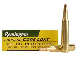 Remington Express Ammunition 25-06 Remington 100 Grain Core-Lokt Pointed Soft Point Box of 20