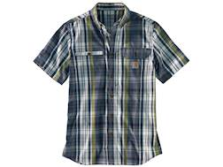 Carhartt Men's Force Ridgefield Plaid Button-Up Shirt Short Sleeve Poly/Cotton Navy XL