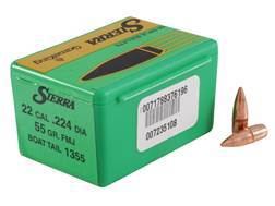 Sierra GameKing Bullets 22 Caliber (224 Diameter) 55 Grain Full Metal Jacket Boat Tail Box of 100