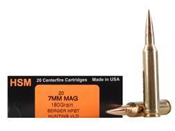 HSM Trophy Gold Ammunition 7mm Remington Magnum 180 Grain Berger Hunting VLD Hollow Point Boat Ta...