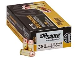 Sig Sauer Elite Performance Ammunition 380 ACP 100 Grain Full Metal Jacket Box of 50