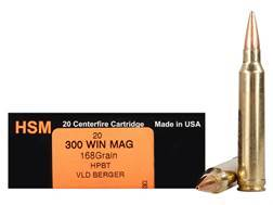 HSM Trophy Gold Ammunition 300 Winchester Magnum 168 Grain Berger Hunting VLD Hollow Point Boat T...