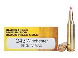 Black Hills Gold Ammunition 243 Winchester 58 Grain Hornady V-Max Box of 20