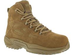 "Reebok Rapid Response RB 6"" Composite Safety Toe Side-Zip Tactical Boots Leather/Nylon Coyote Men..."