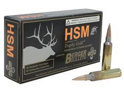HSM Trophy Gold Ammunition 6.5mm-284 Norma 140 Grain Berger Hunting VLD Hollow Point Boat Tail Bo...
