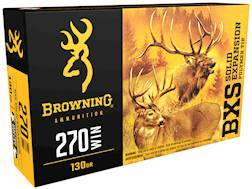 Browning BXS Solid Expansion Ammunition 270 Winchester 130 Grain Solid Copper Polymer Tip Boat Ta...