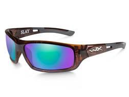 Wiley X Slay Polarized Sunglasses Gloss Demi Frame/Emerald Green Mirror Lens