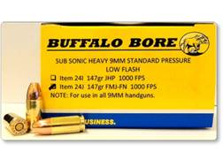 Buffalo Bore Ammunition  9mm Luger Subsonic 147 Grain Full Metal Jacket Flat Nose Low Flash Box o...