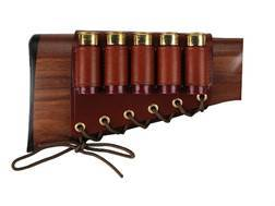 Galco Shotgun Cheek Rest Right Hand with 12 Gauge Shotshell Ammunition Carrier 5-Round Leather Brown