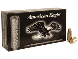 Federal American Eagle Suppressor Ammunition 9mm Luger Subsonic 124 Grain Full Metal Jacket