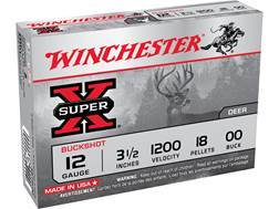 "Winchester Super-X Magnum Ammunition 12 Gauge 3-1/2"" Buffered 00 Buckshot 18 Pellets"