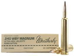 Weatherby Ammunition 240 Weatherby Magnum 100 Grain Nosler Partition Box of 20