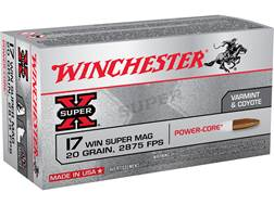 Winchester Power Core Ammunition 17 Winchester Super Magnum 20 Grain Copper Hollow Point Lead-Free