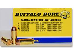 Buffalo Bore Tactical Low Recoil Ammunition 10mm Auto 180 Grain Full Metal Jacket Flat Nose Low F...