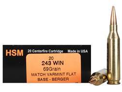 HSM Varmint Gold Ammunition 243 Winchester 69 Grain Berger Varmint Hollow Point Flat Base Box of 20