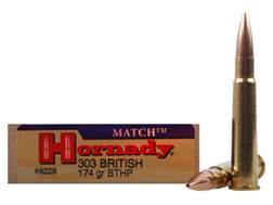 Hornady Vintage Match Ammunition 303 British 174 Grain Hollow Point Boat Tail Box of 20