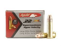 Aguila Super Maximum Ammunition 22 Long Rifle 30 Grain Plated Lead Round Nose