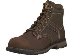 "Ariat Groundbreaker 6"" Round Steel Toe Work Boots Leather and Nylon Dark Brown Men's"