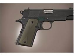 Hogue Extreme Series Grip 1911 Officer Checkered Aluminum Matte Green